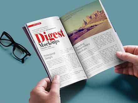 Magazine in Hands Mockup