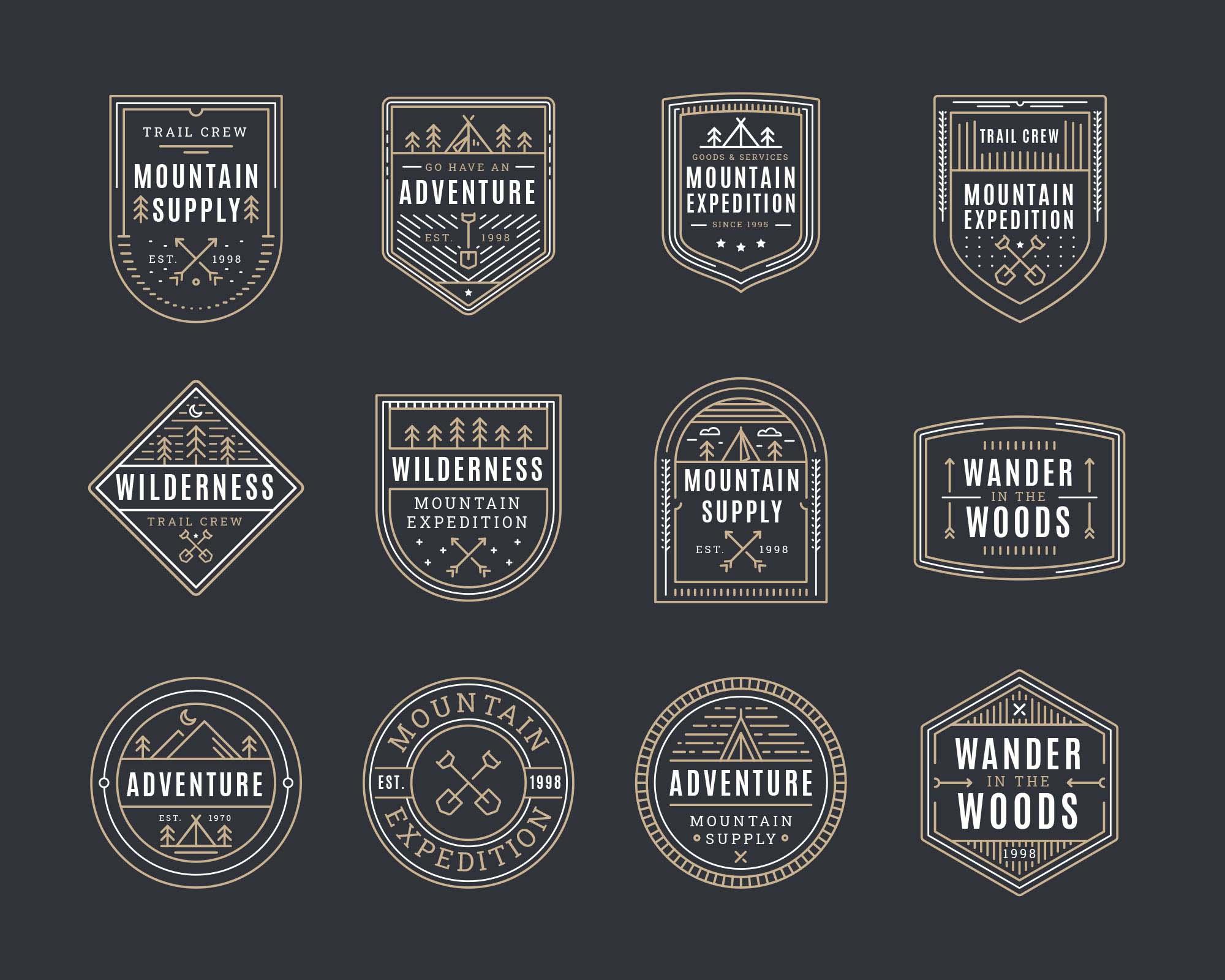 Mountain Adventure Vector Badges