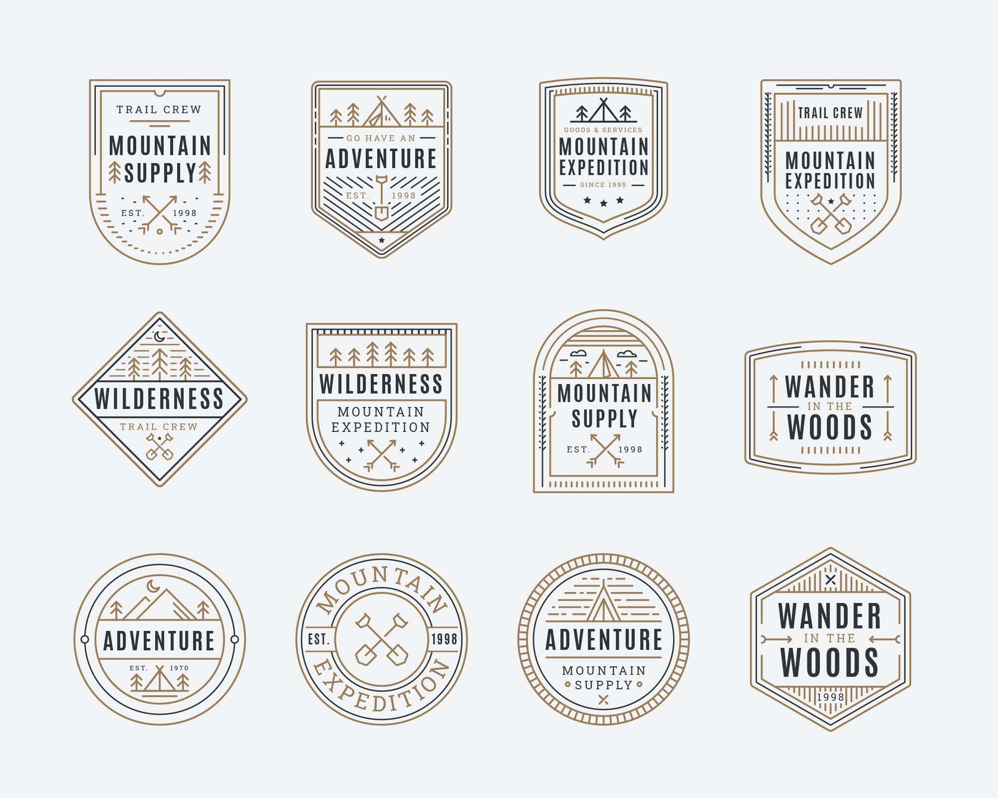 Mountain Adventure Vector Badges 2
