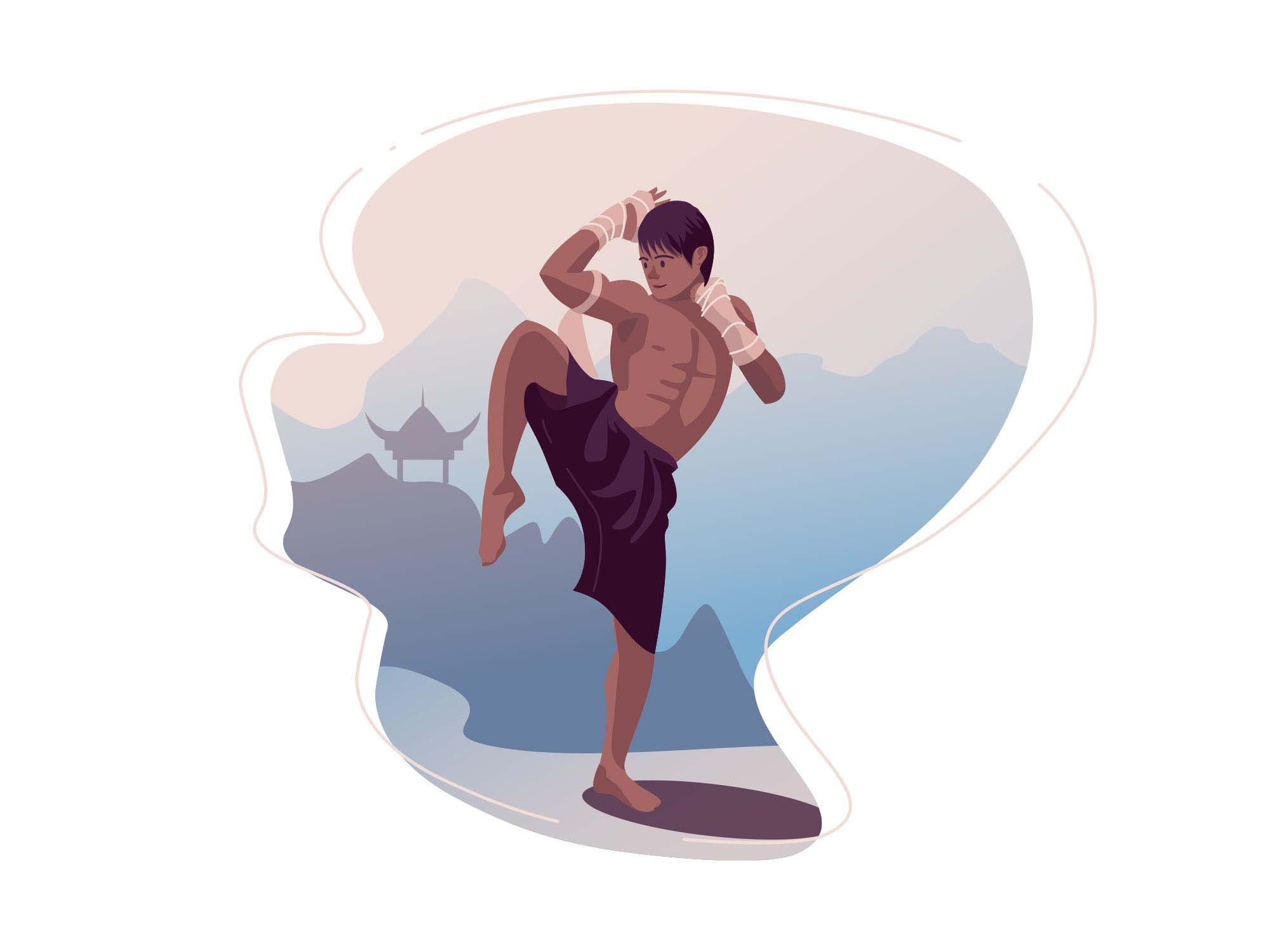 Muay Thai Fighter Illustration
