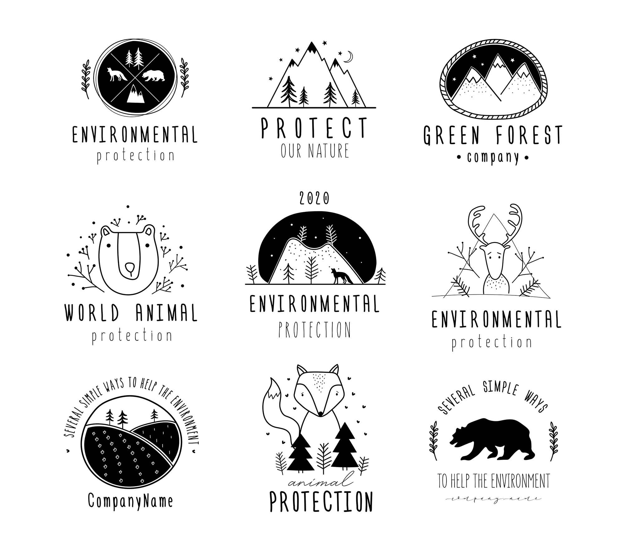 Nature Protection Logo Templates