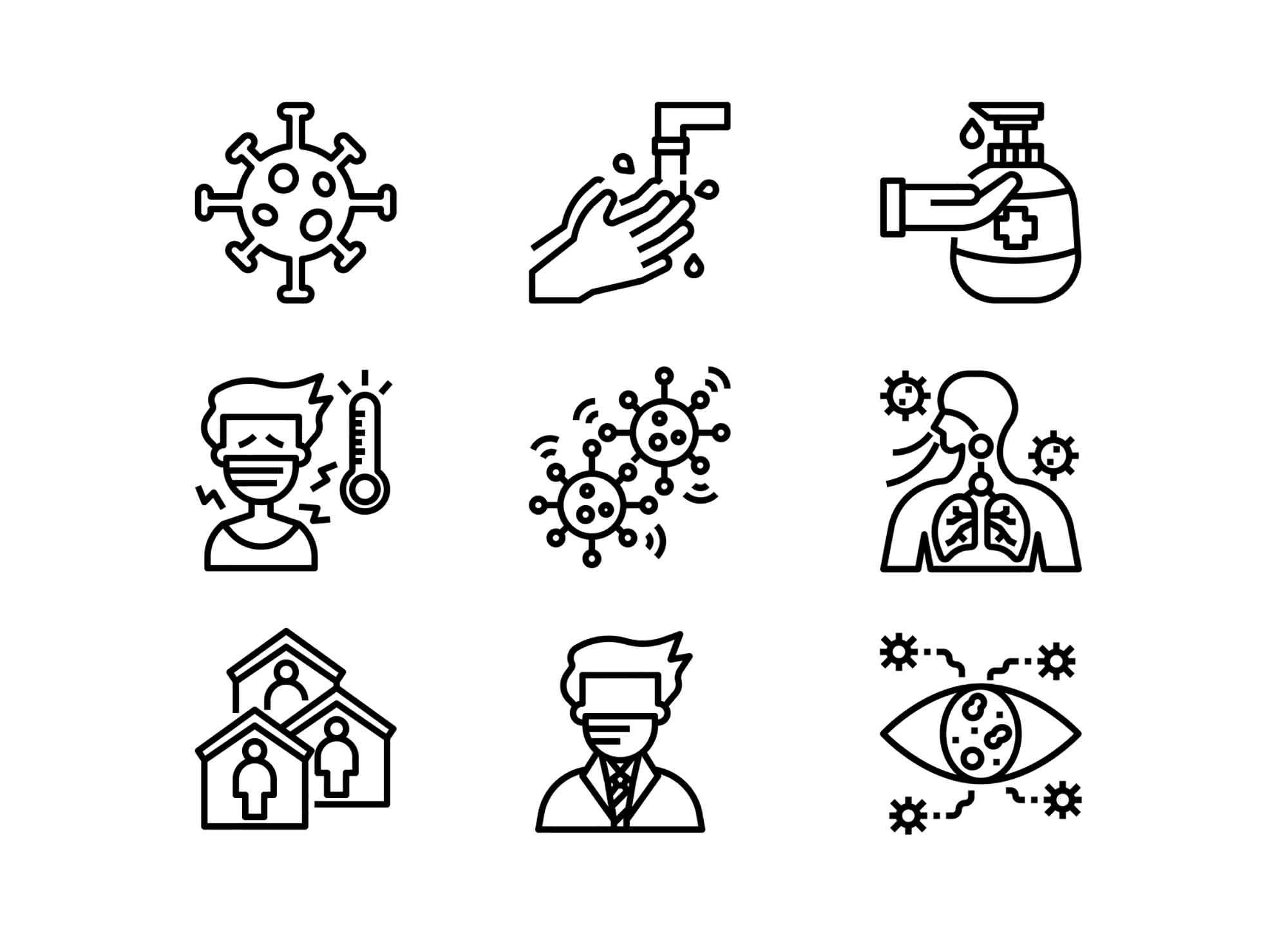 Outline Coronavirus Icons