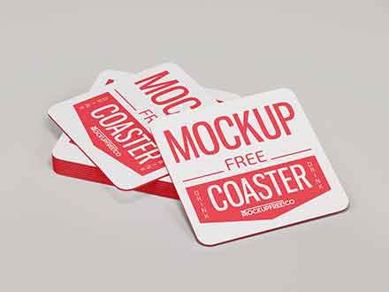 Paper Drink Coaster Mockup