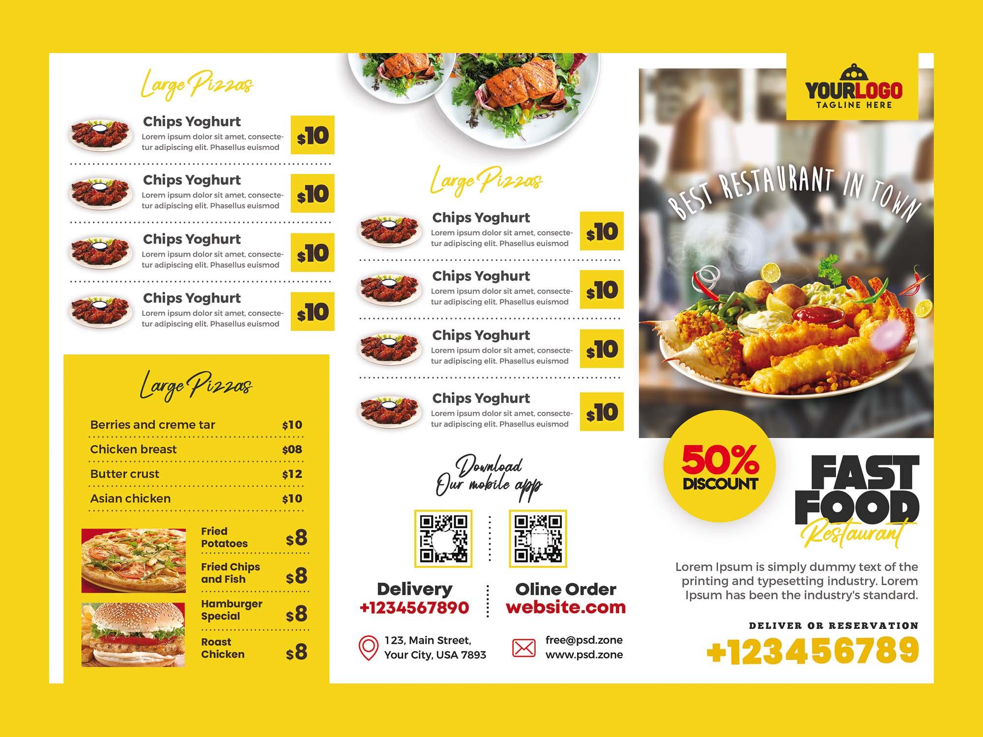 Restaurant Menu Trifold Brochure Template 1