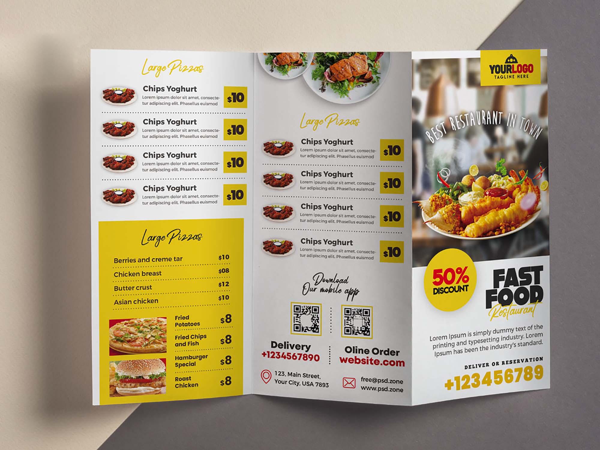 Restaurant Menu Trifold Brochure Template