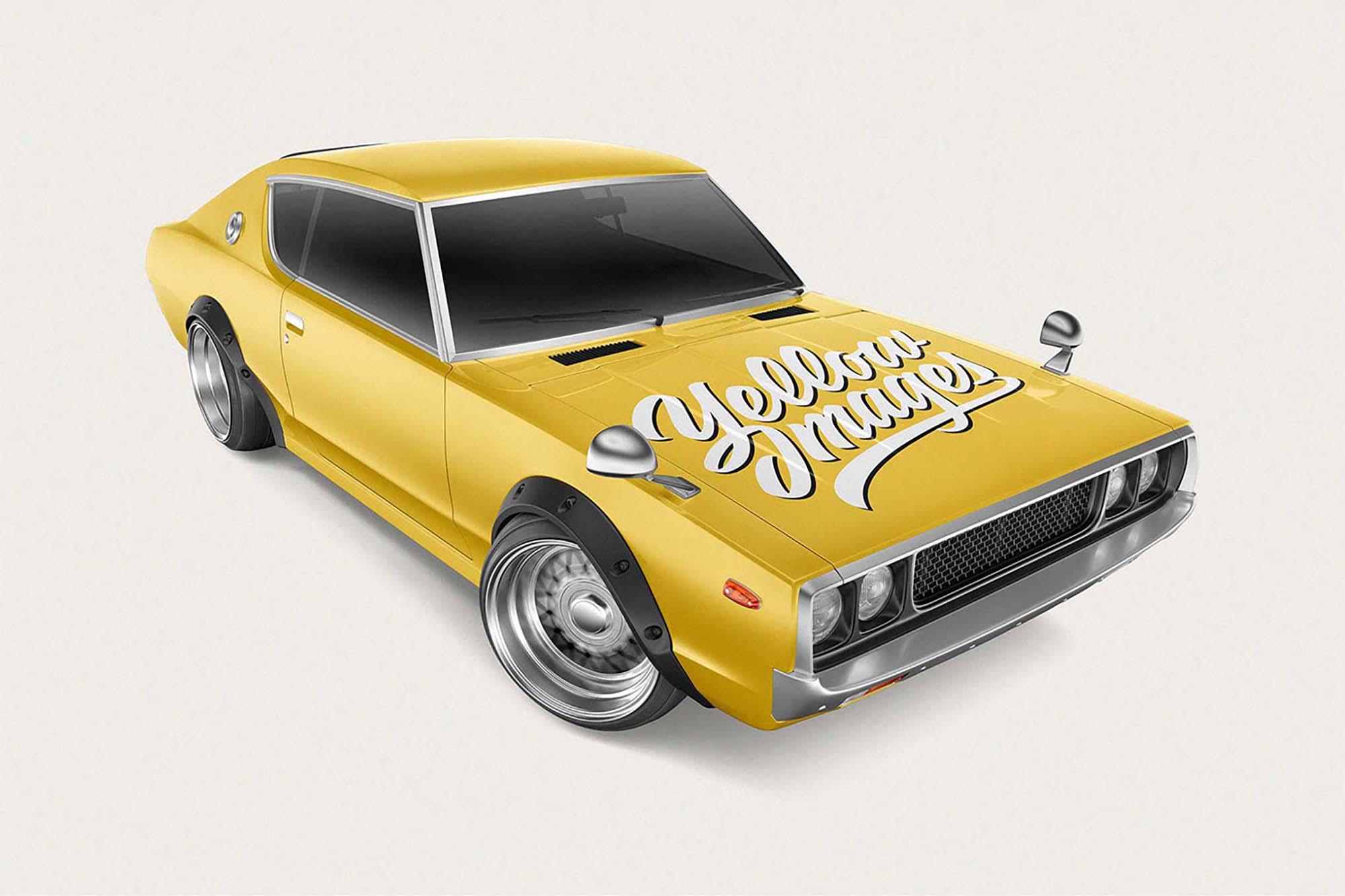 Retro Sport Car Mockup