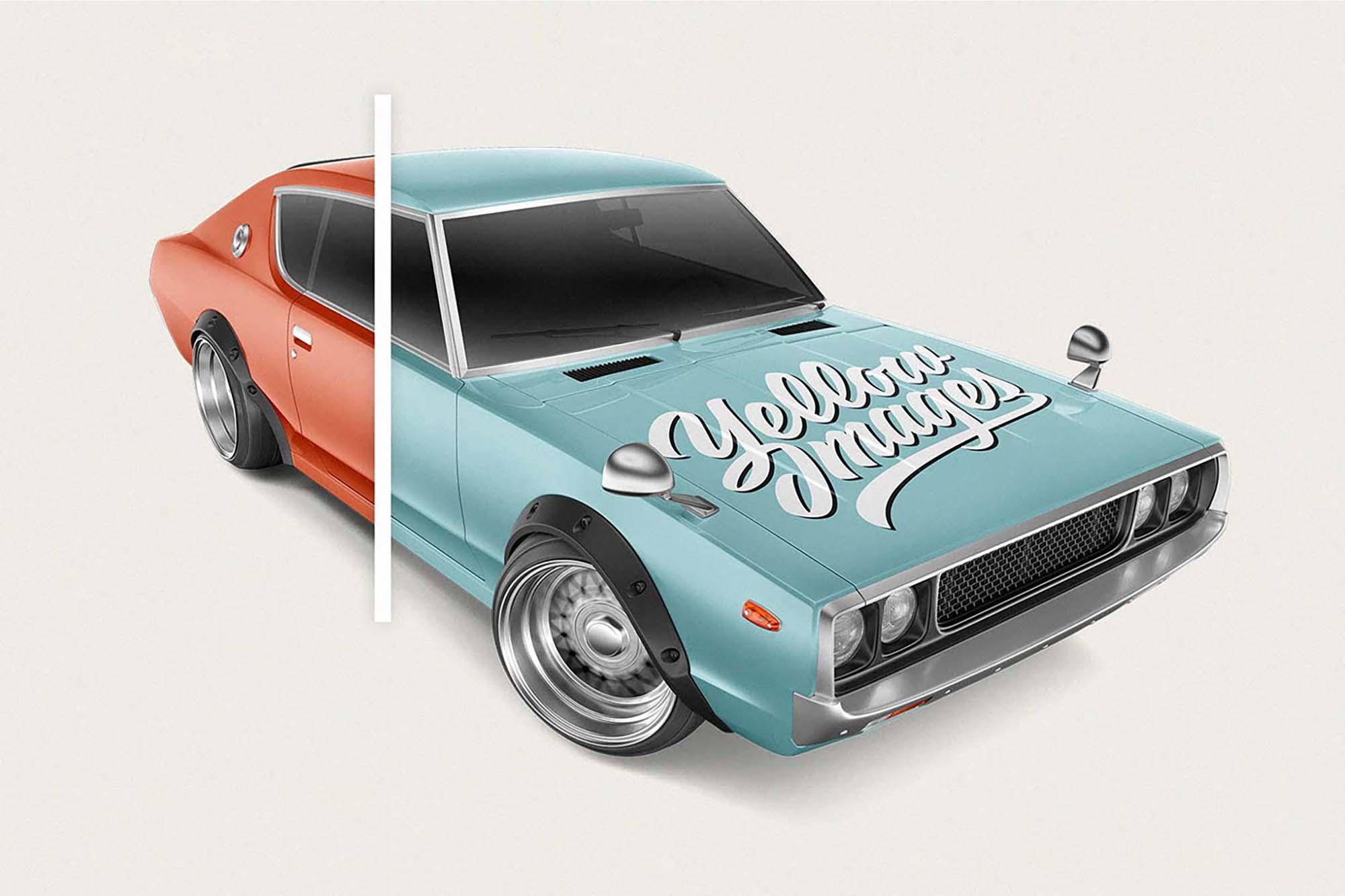 Retro Sport Car Mockup 3