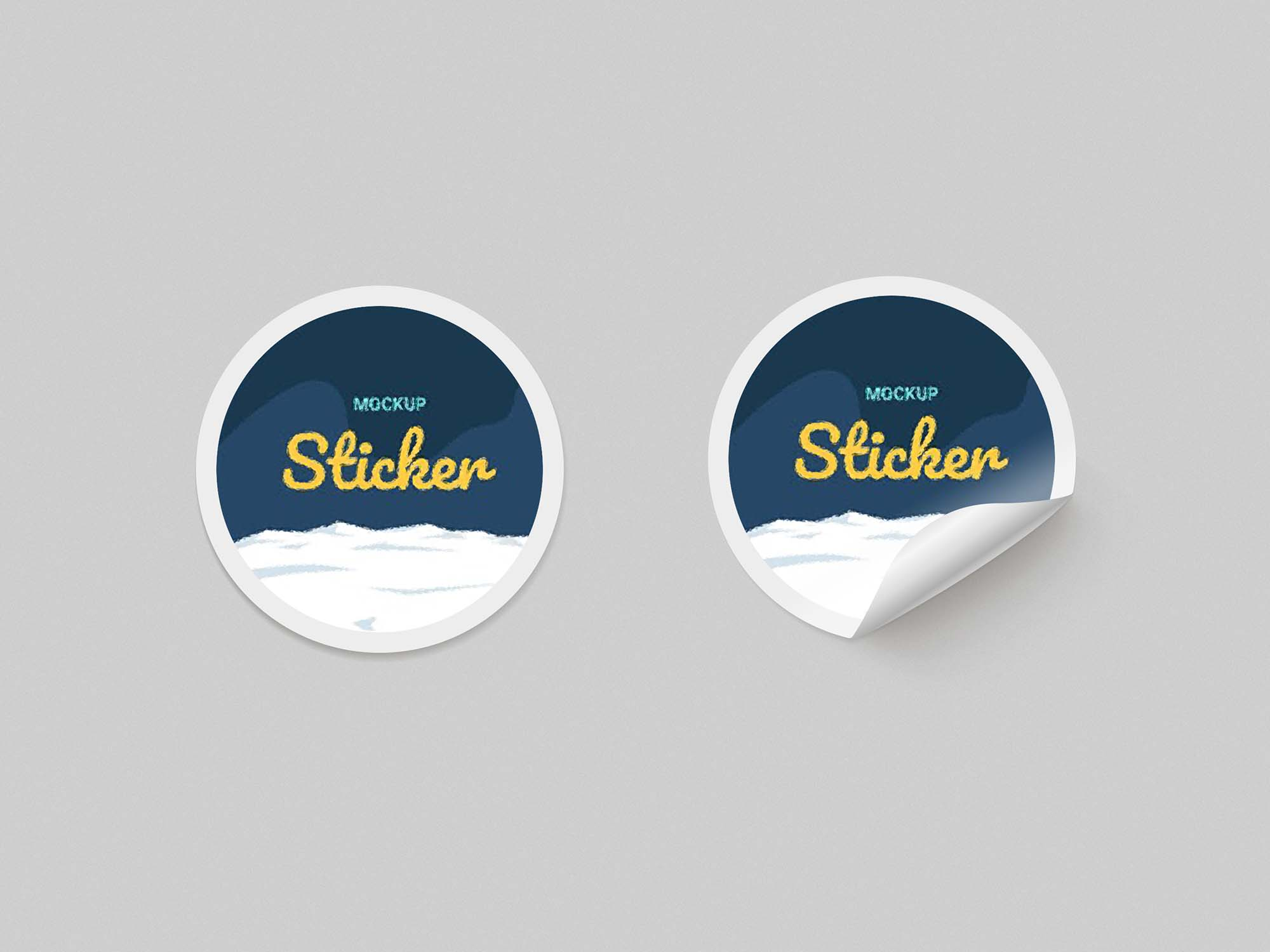 Round Paper Stickers Mockup