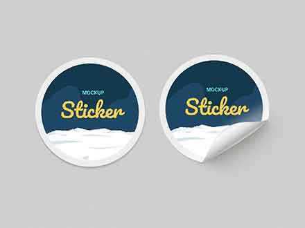 Round Paper Stickers Mockup