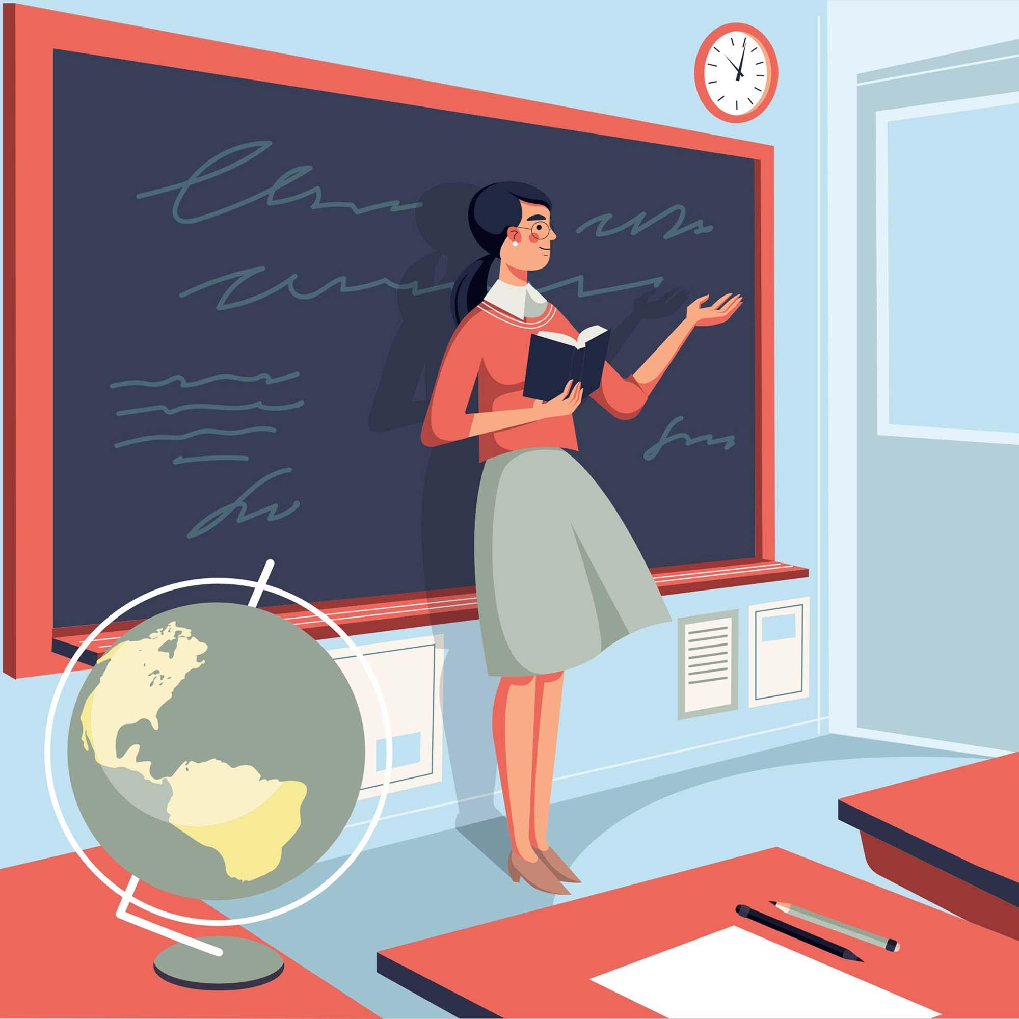 School Teacher Vector Illustration