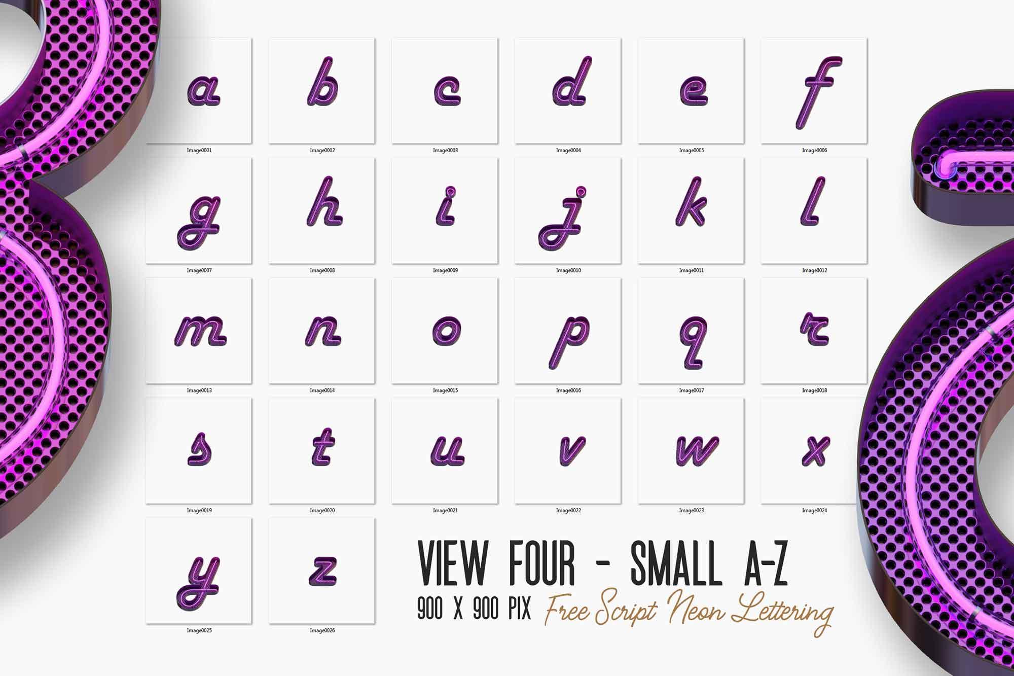 Script Neon 3D Lettering 3