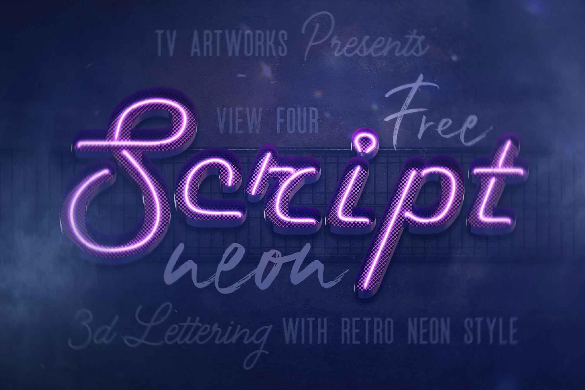 Script Neon 3D Lettering