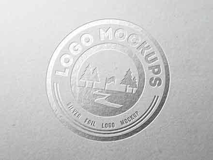 Silver Foil Perspective Logo Mockup