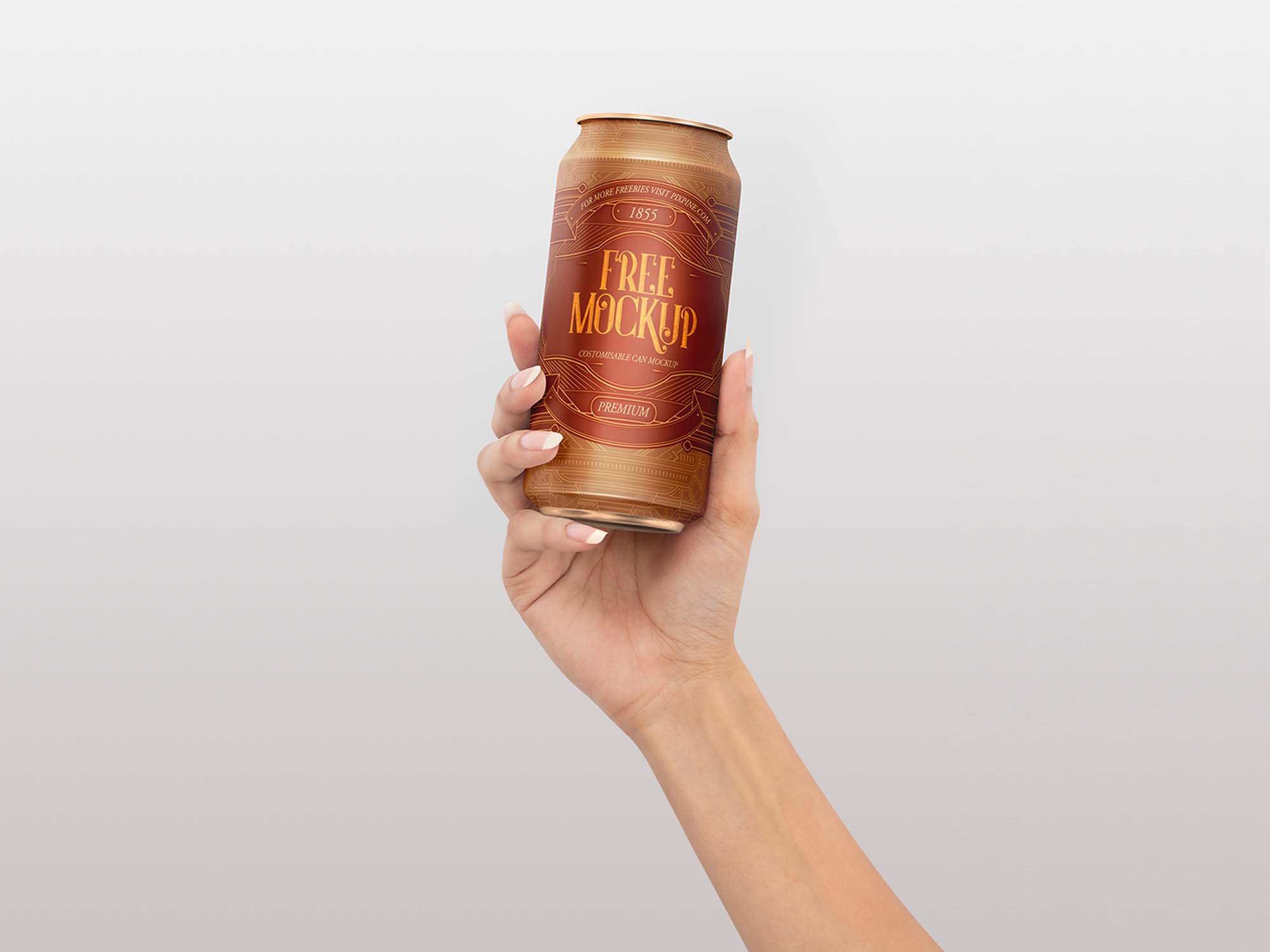 Soda Can in Hand Mockup