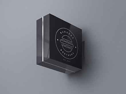 Square Wall Sign Mockup