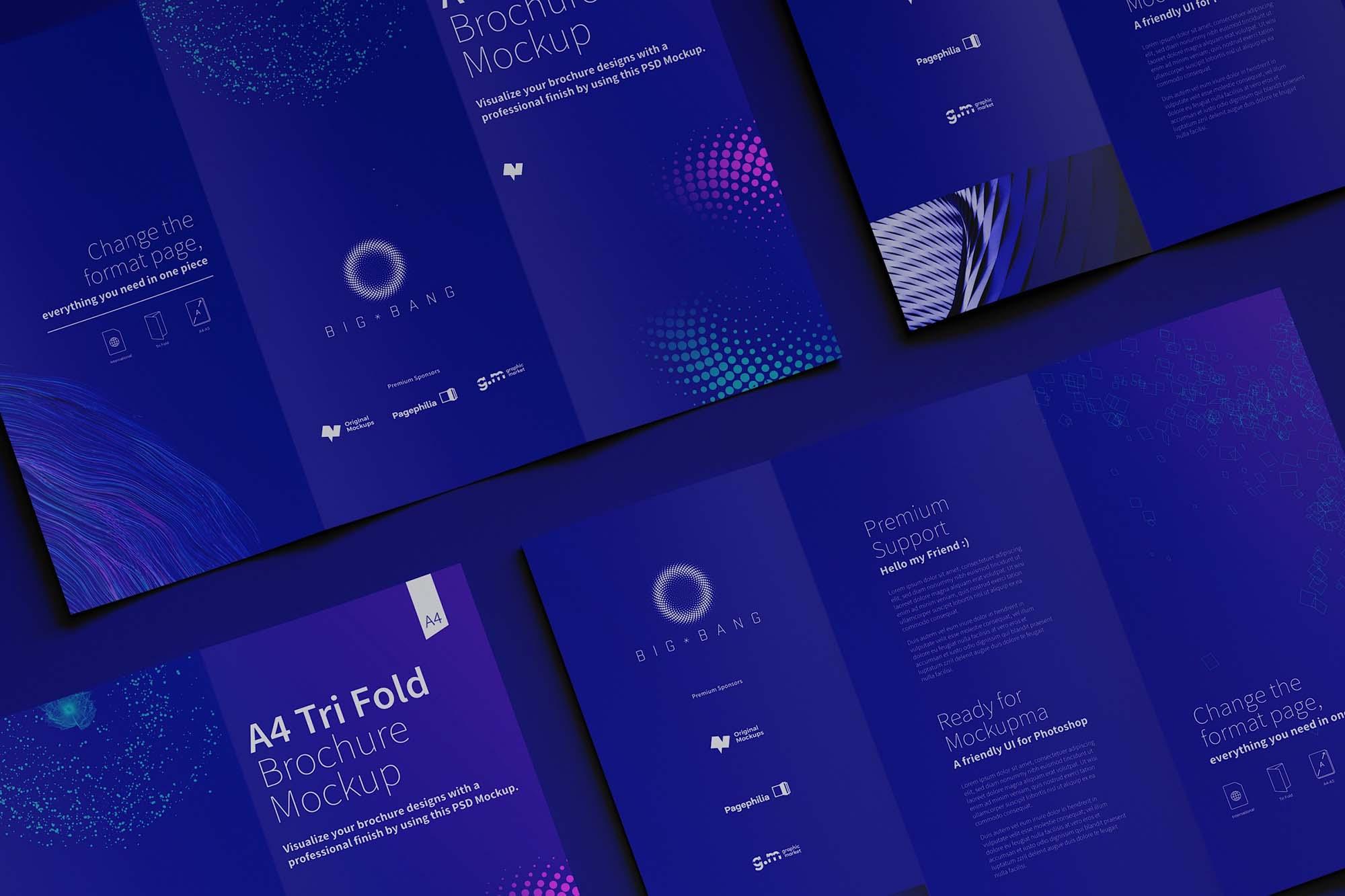 Trifold A4 Brochure Mockup