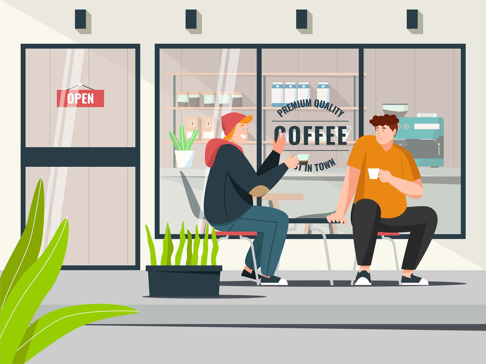 Two Men Drinking Coffee Vector Illustration