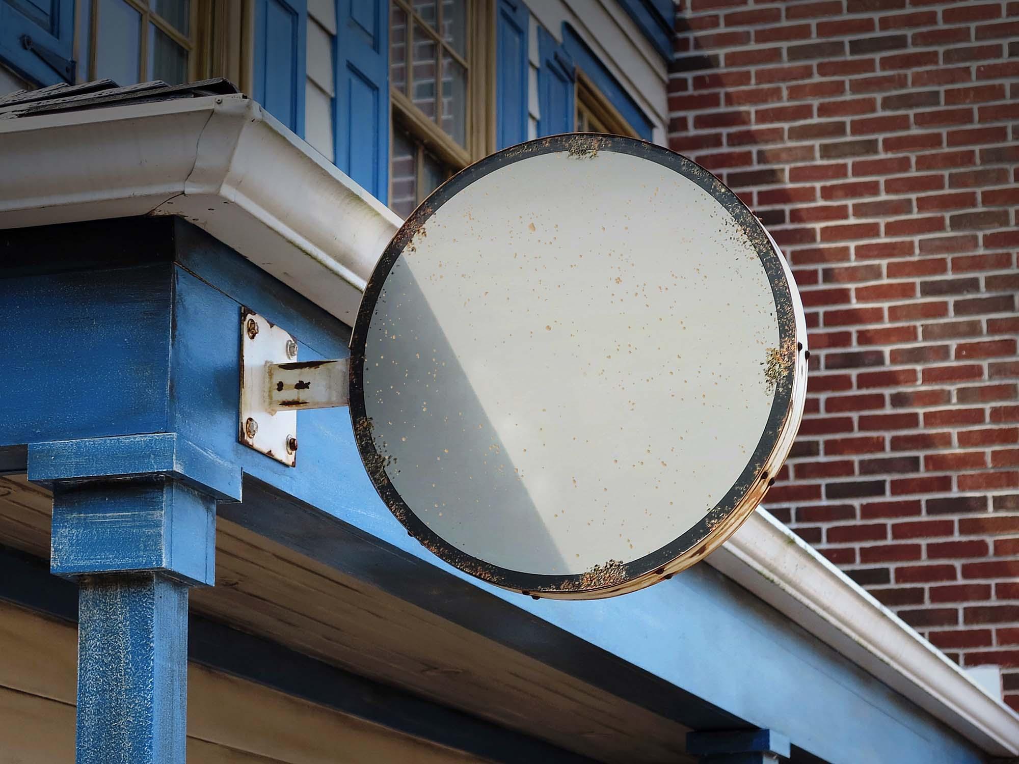Vintage Wall Mounted Sign Board Mockup 2