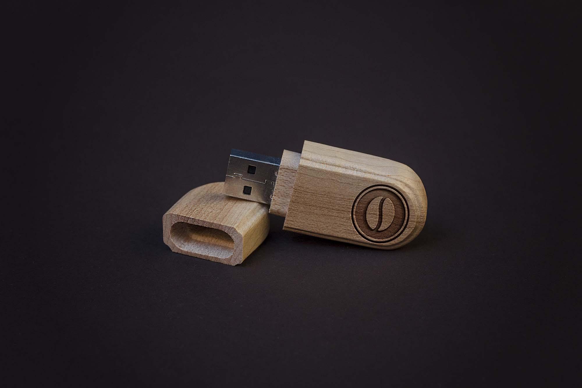 Wooden Flash Disc Mockup