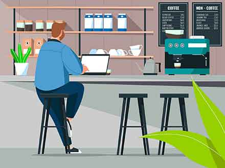 Working at Coffee Shop Vector Illustration