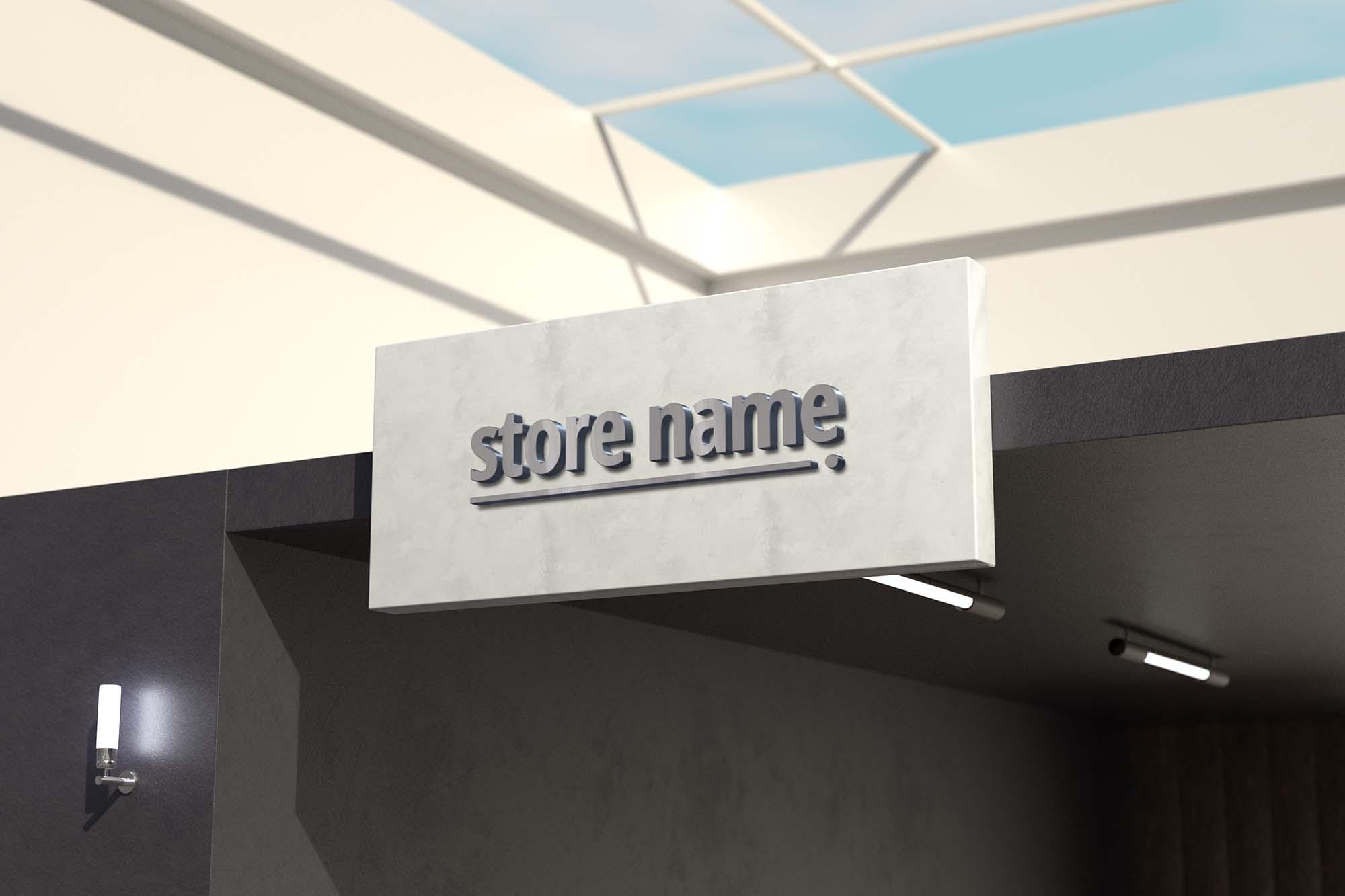 3D Store Sign Name Mockup