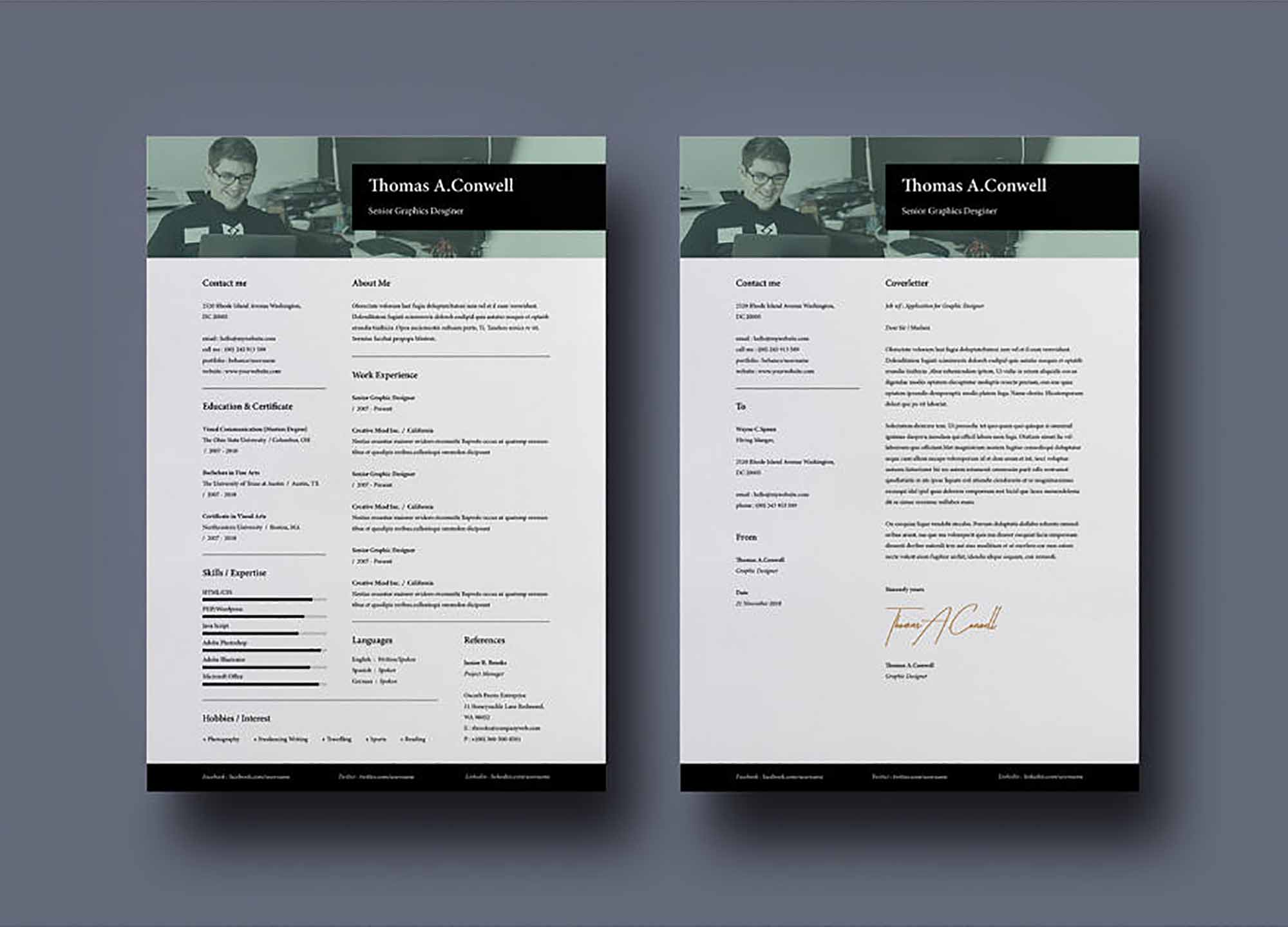 A4 and US Resume Template 2