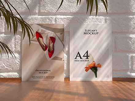 A4 Standing Flyer Realistic Mockup