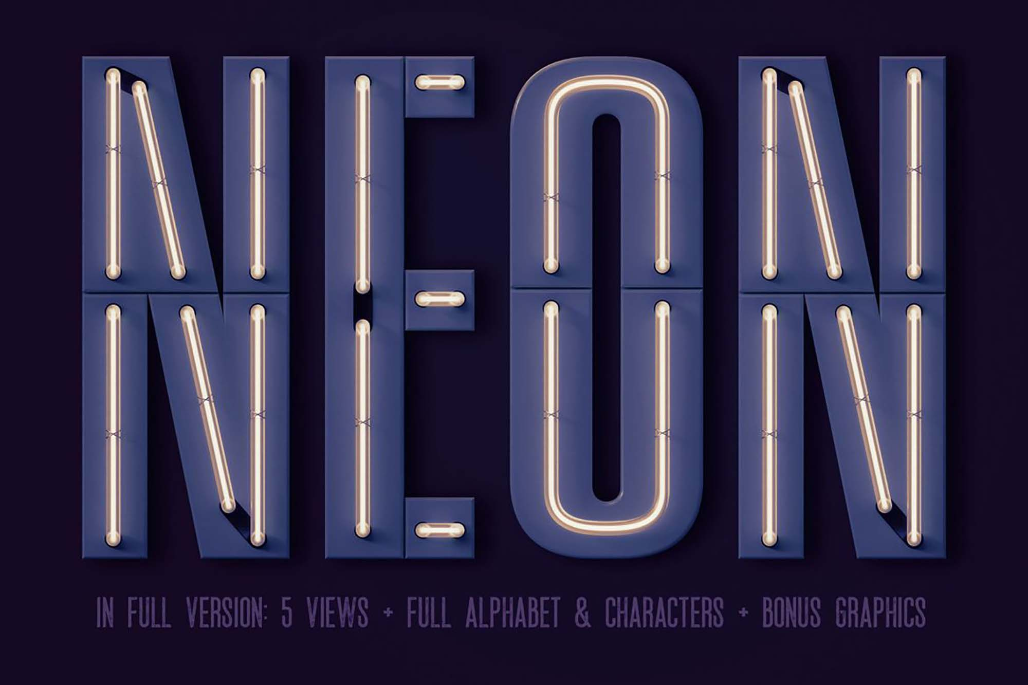 Condensed Neon 3D Lettering 2