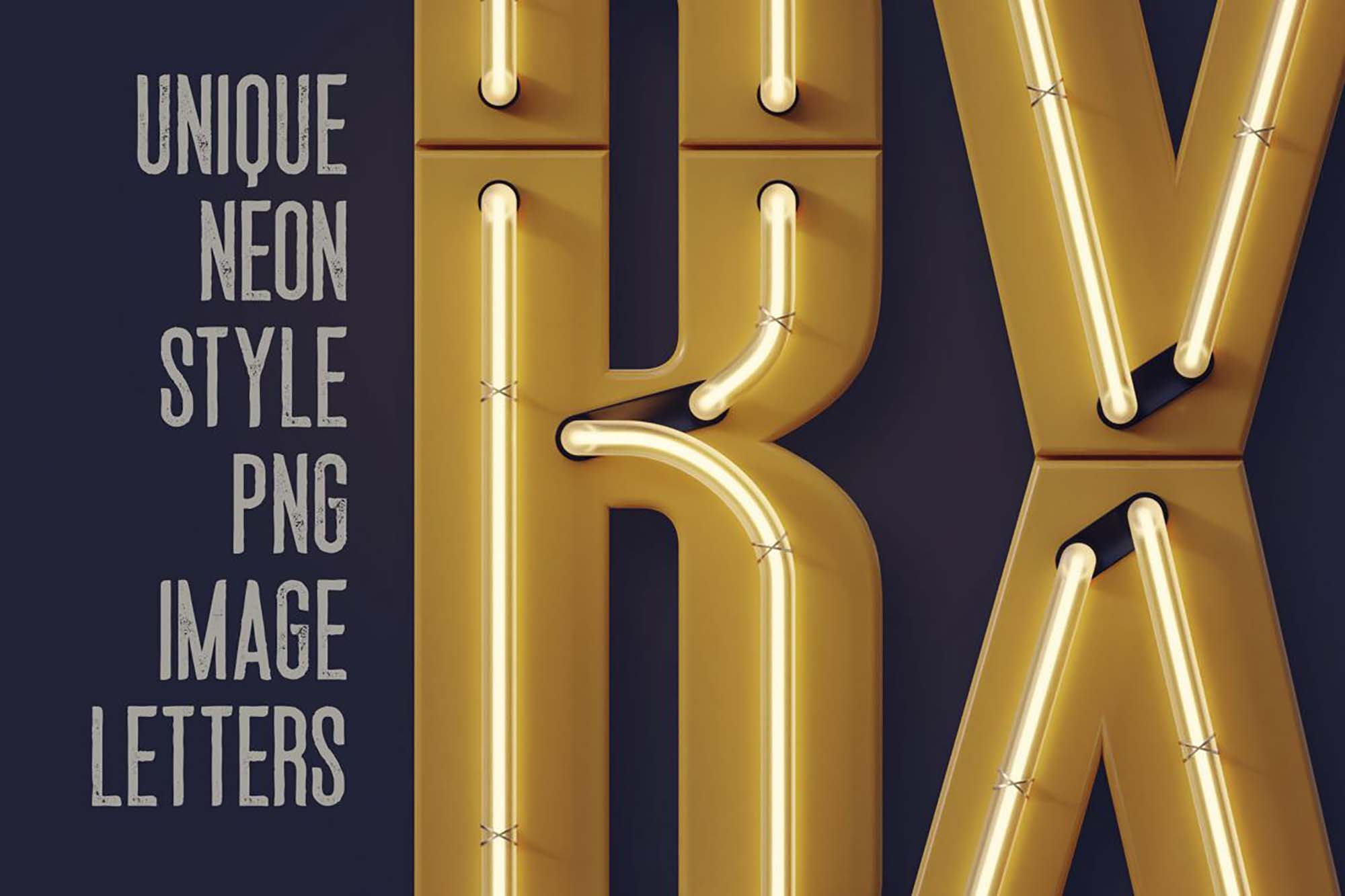 Condensed Neon 3D Lettering 3