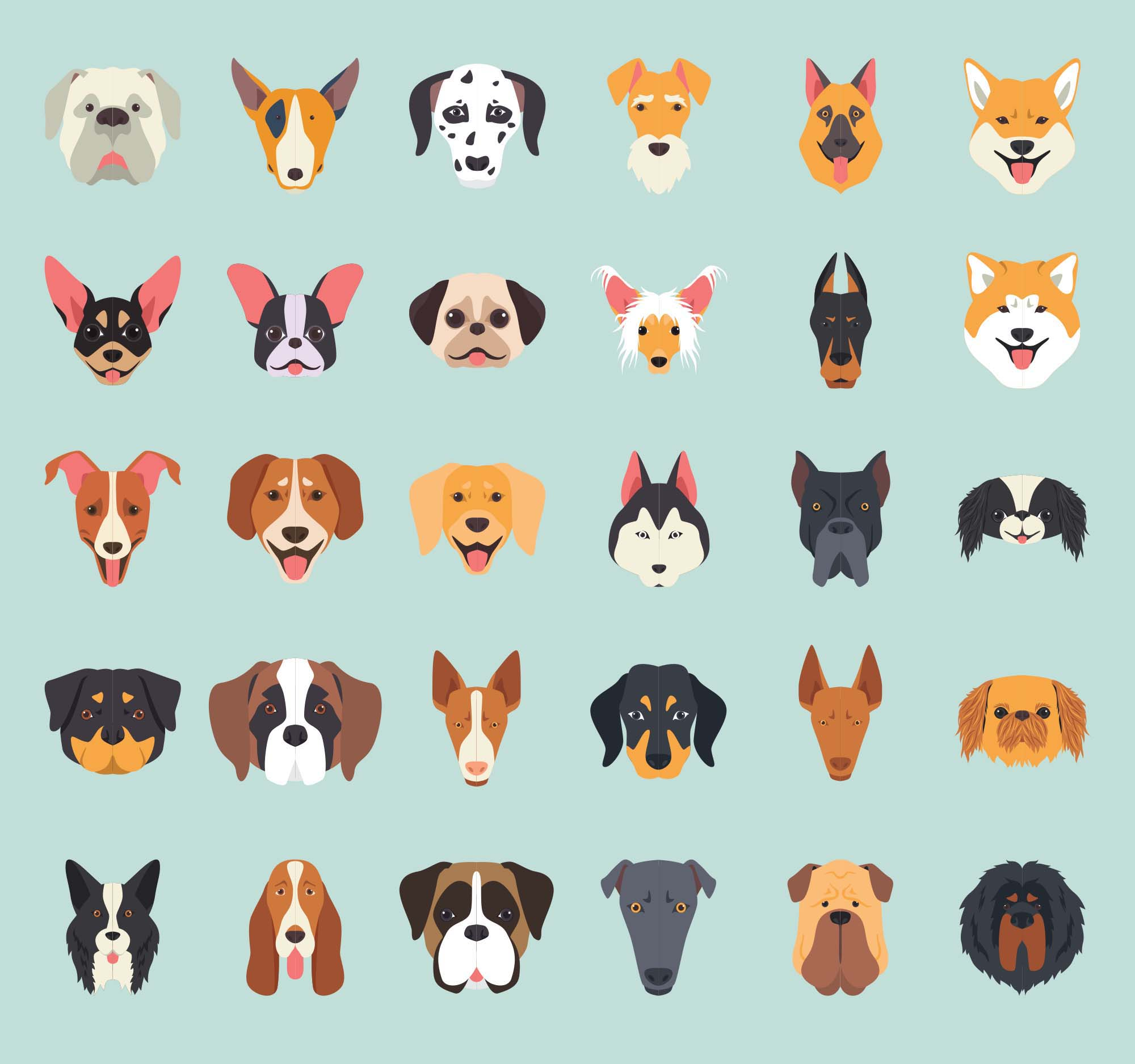 Dog Breeds Vector Icons