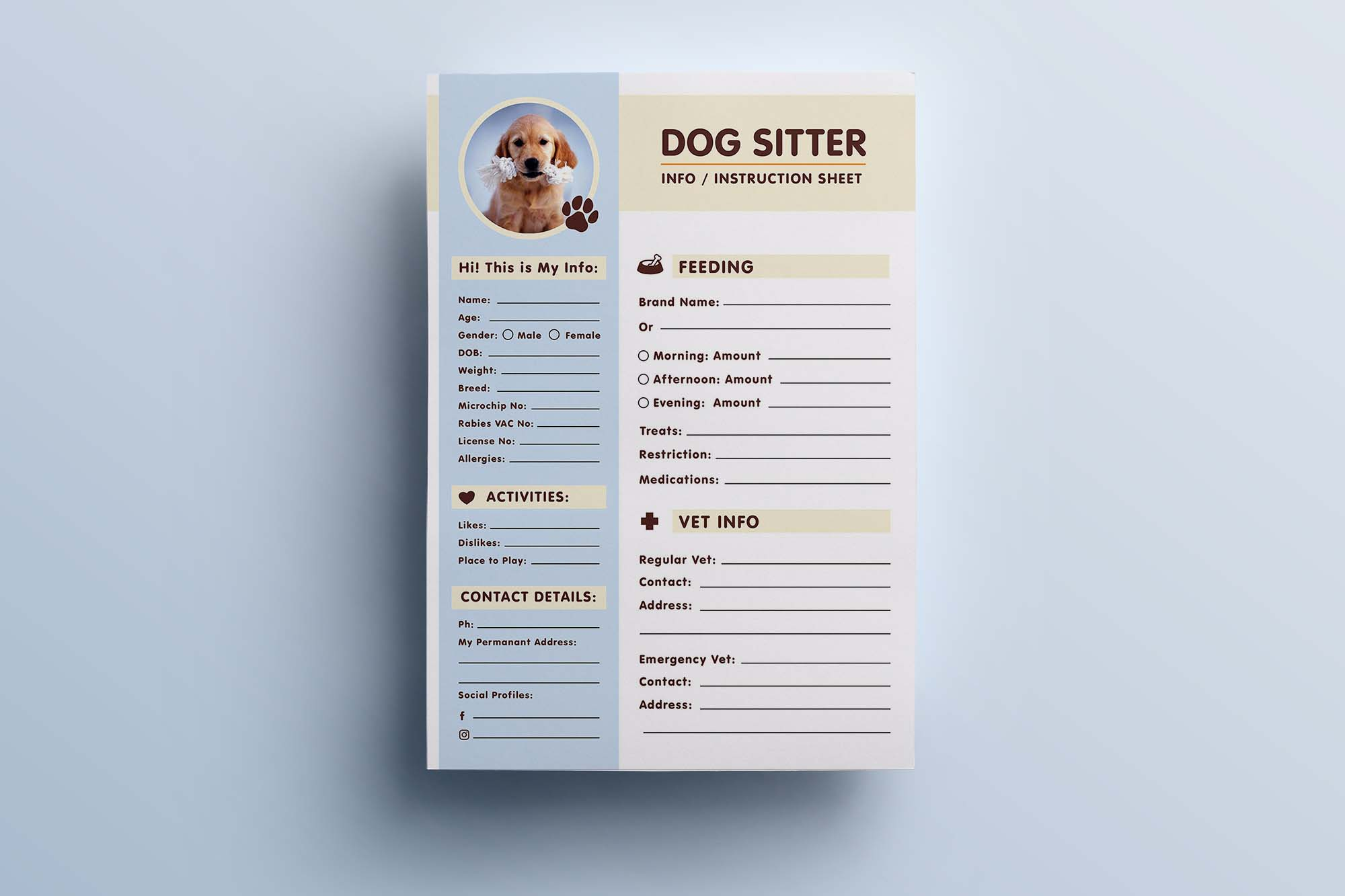 Dog Sitter Information Sheet Template