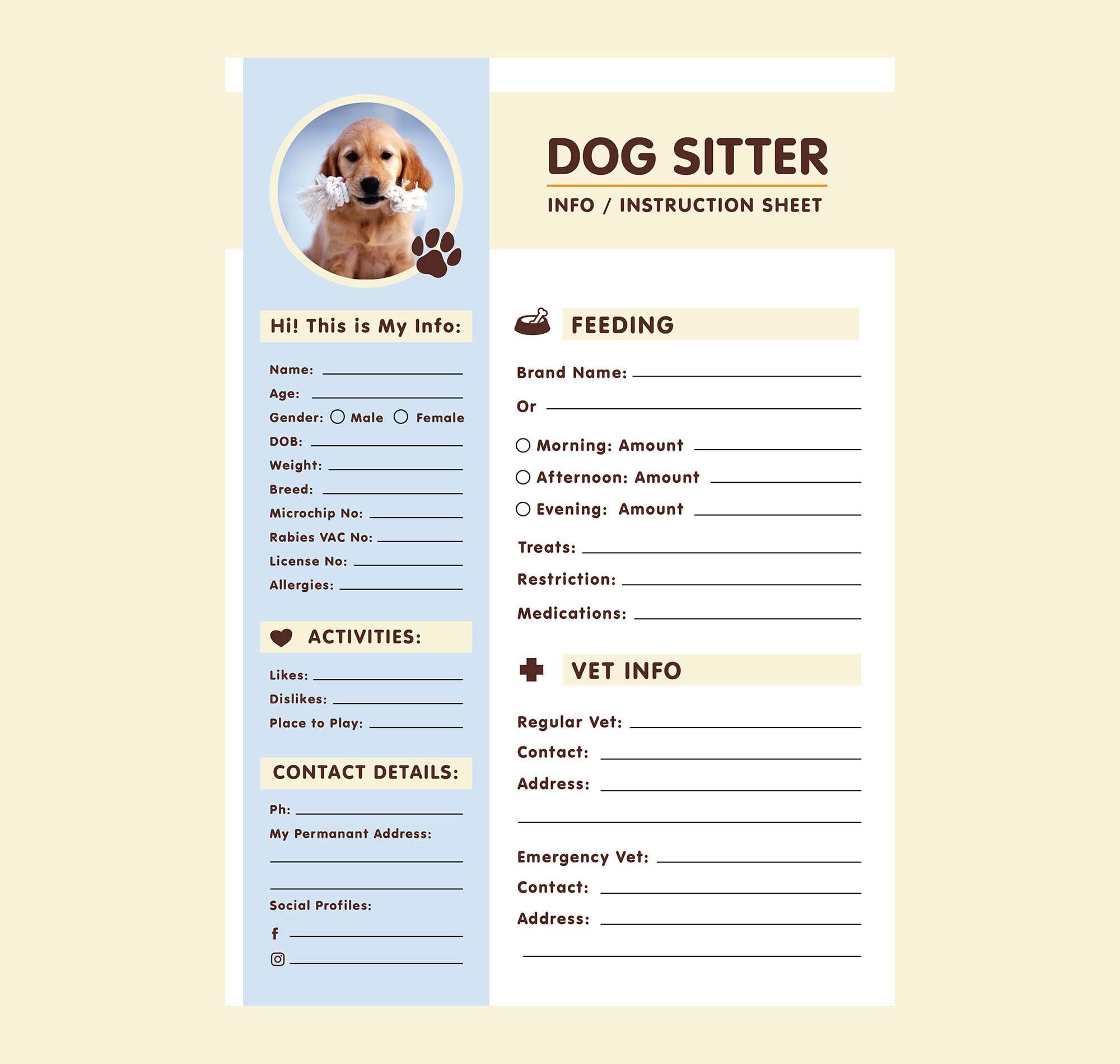 Dog Sitter Information Sheet Template 2