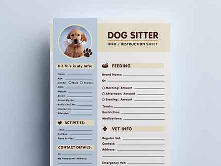 Dog Sitter Information Sheet Template