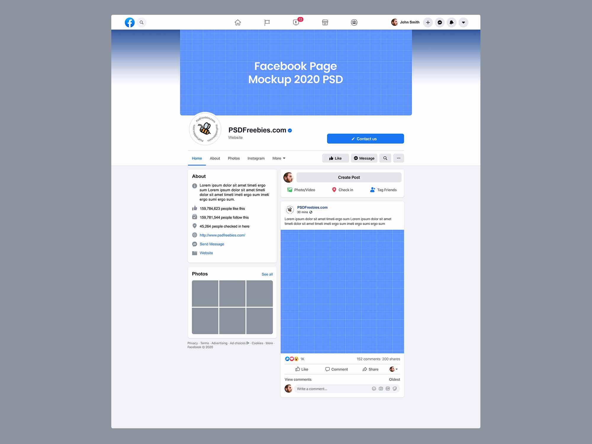 Facebook Page Mockup 2020 New Design
