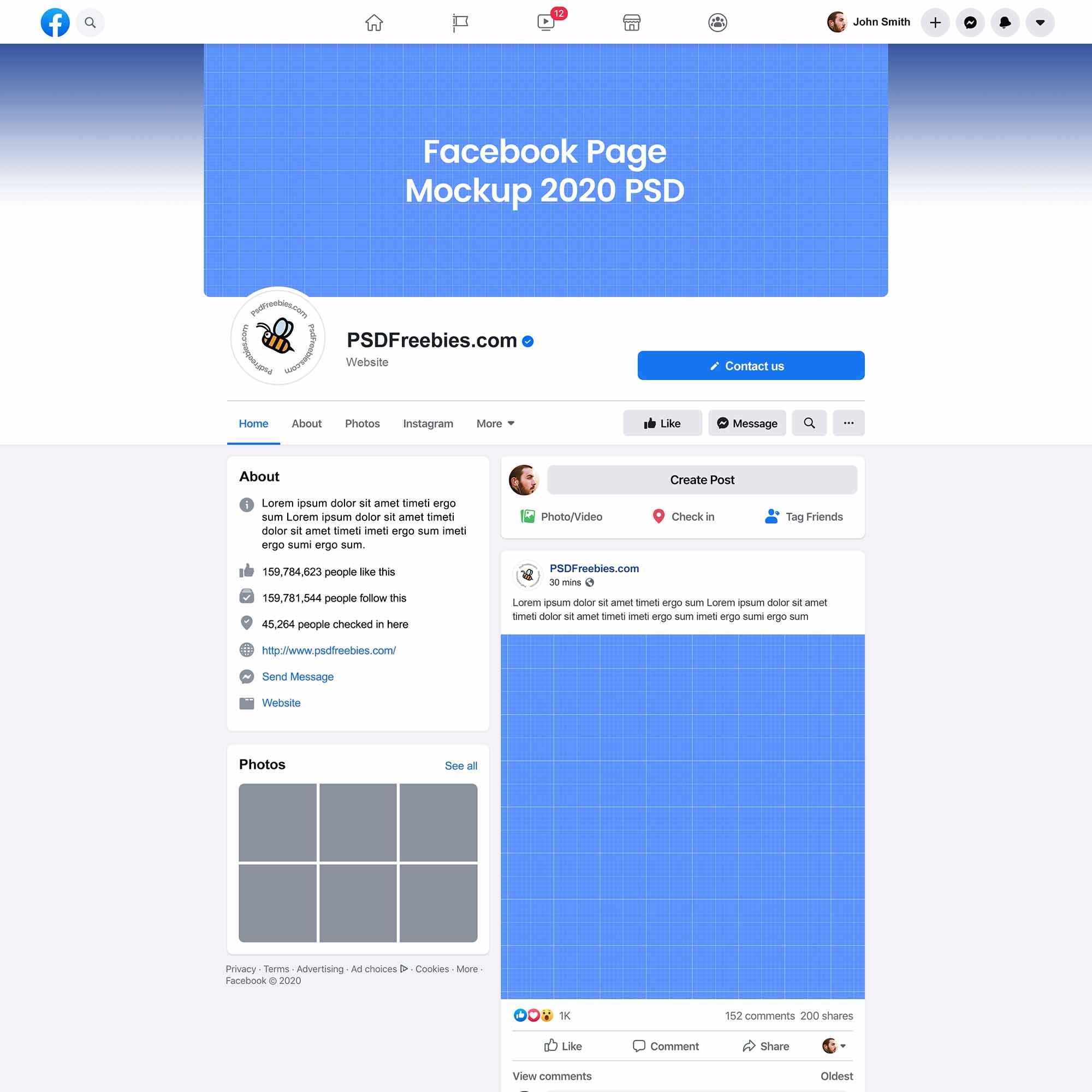 Facebook Page Mockup 2020 New Design 2