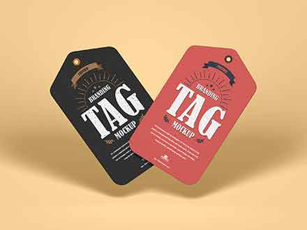 Floating Brand Tags Mockup