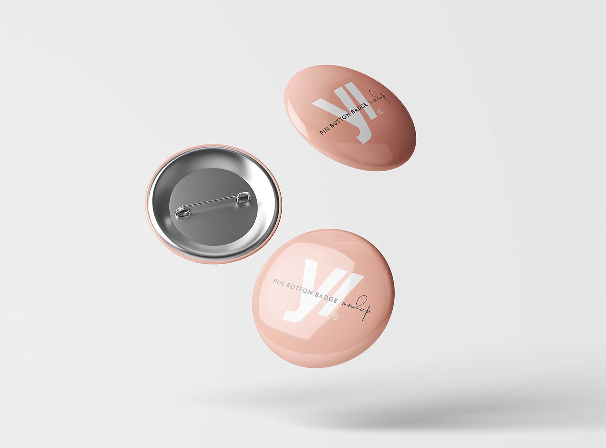 Floating Pin Button Badge Mockup