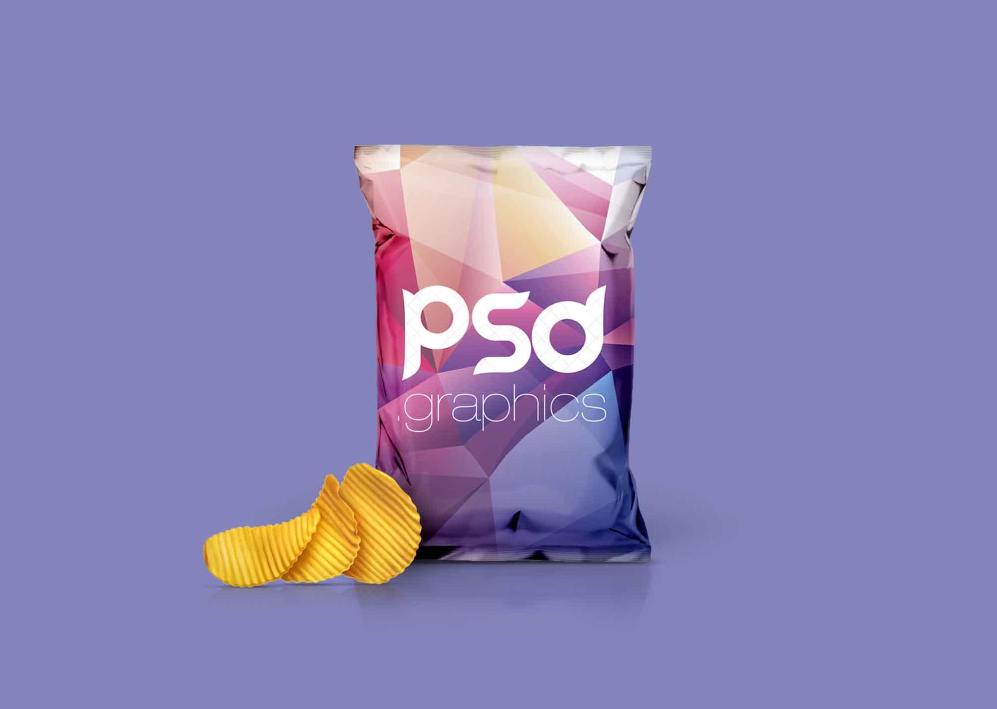 Foil Chips Bag Packaging Mockup