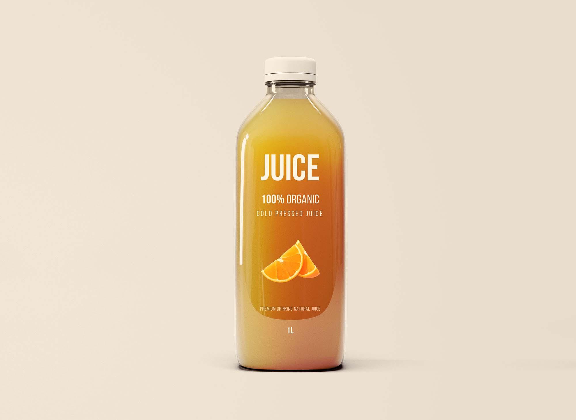 Glass Juice Bottle Mockup 2