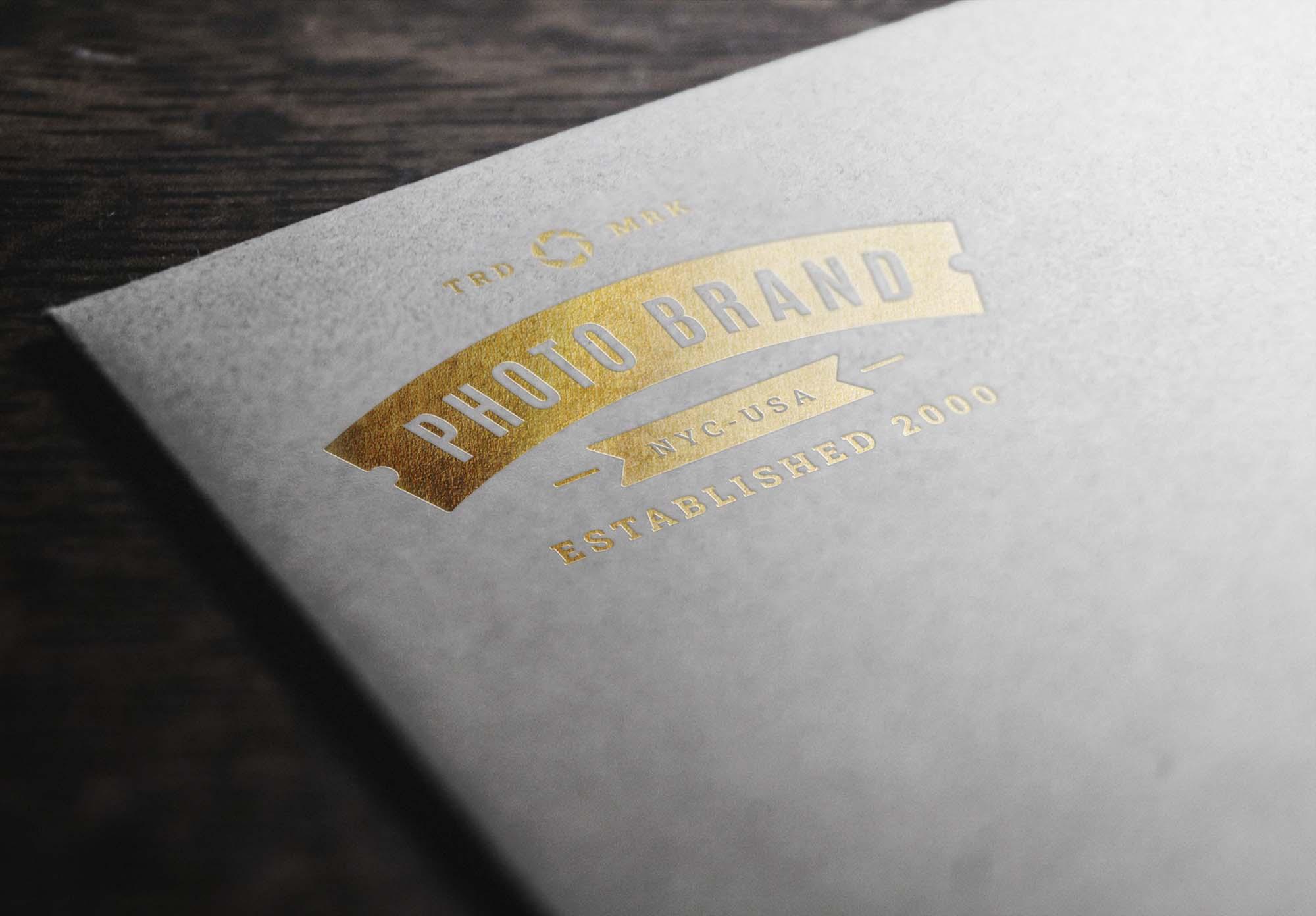 Gold Foil Stamping Logo Mockup