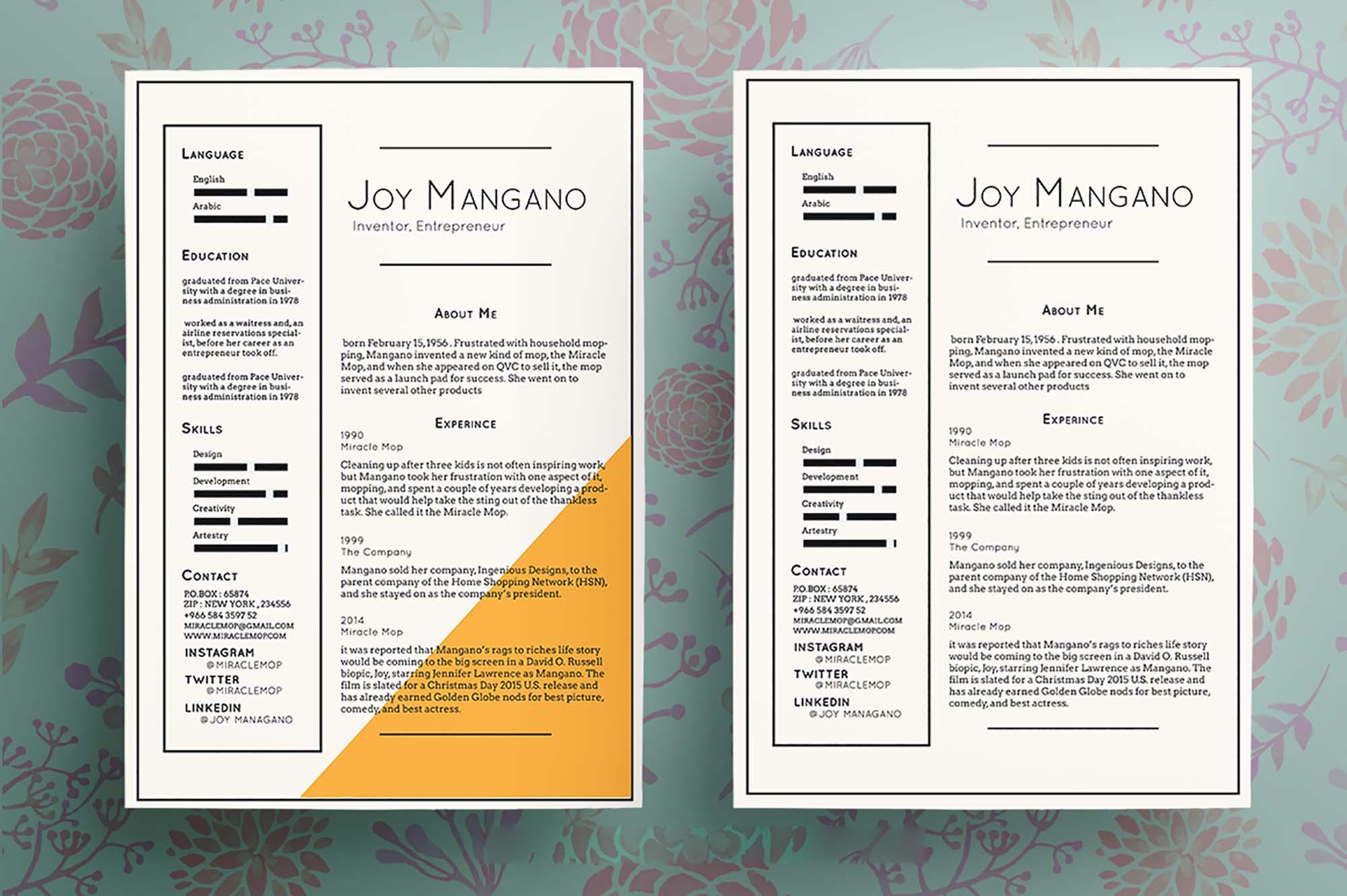 Joy Free Resume Template 2