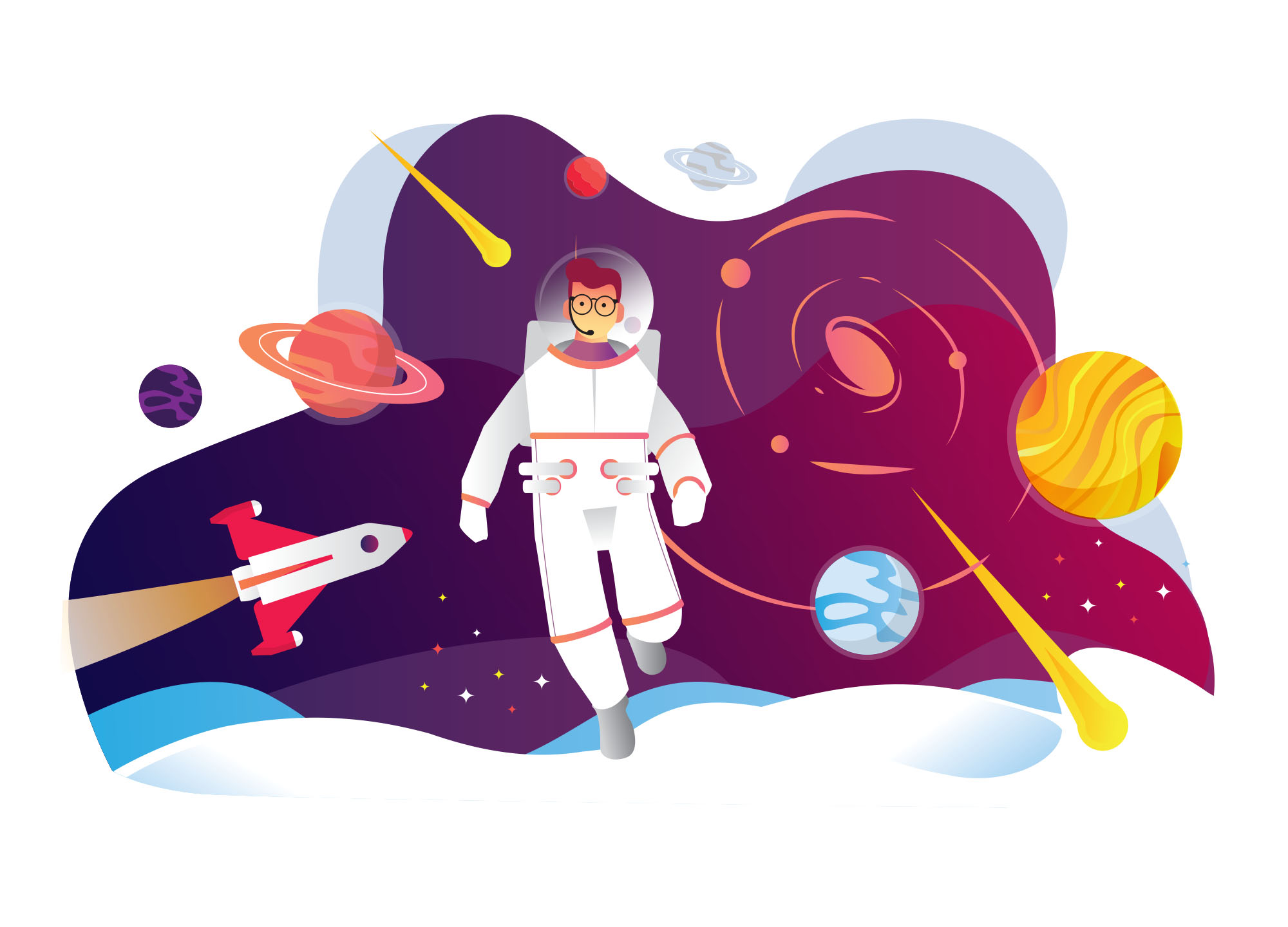Konsep Astronaut Illustration