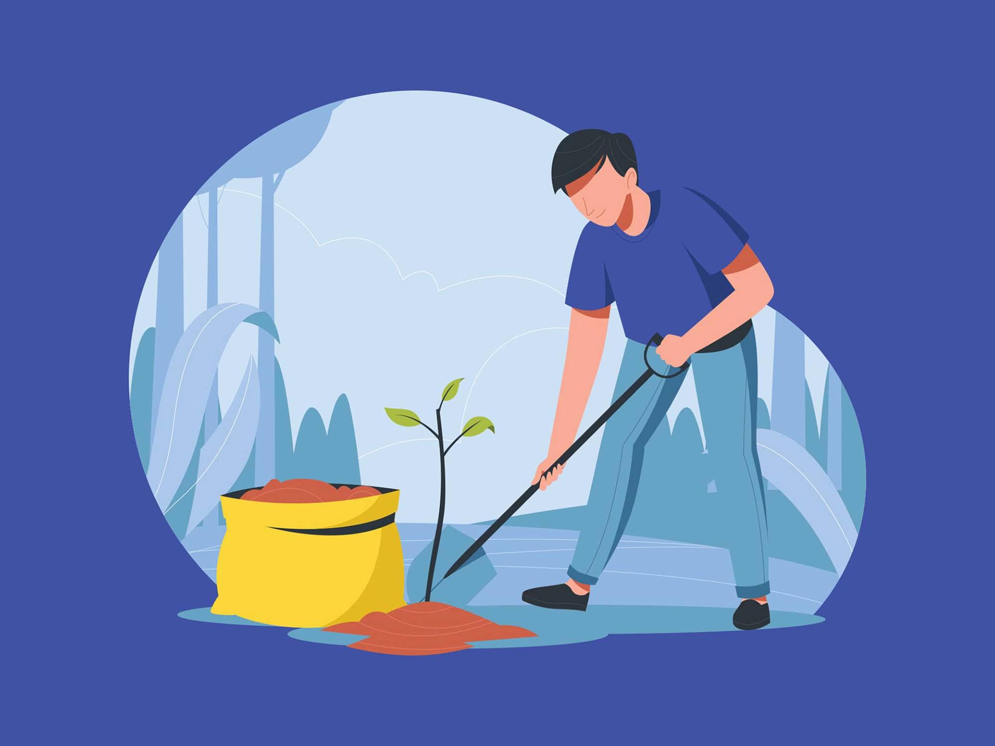 Man Planting a Tree Vector Illustration