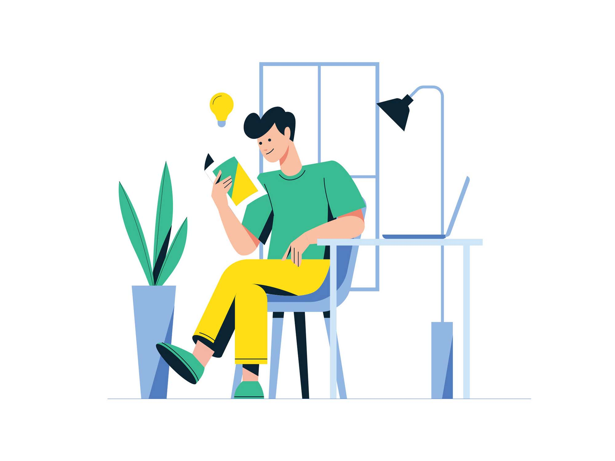 Man Reading a Book Vector Illustration