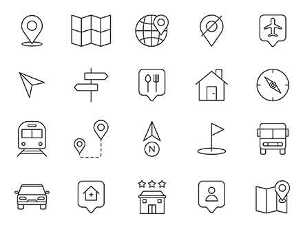 Map Navigation Vector Icons