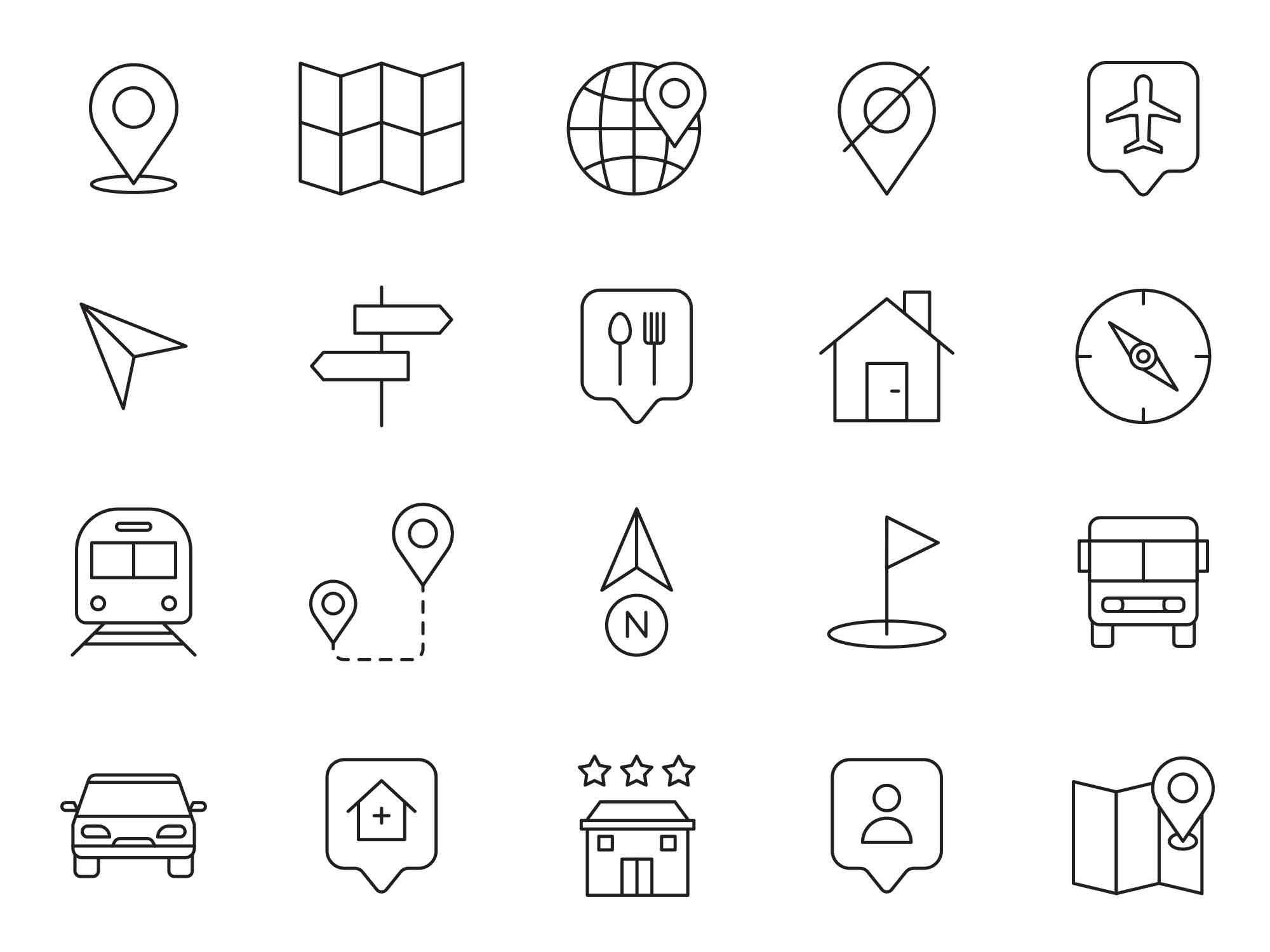 Map Navigation Vector Icons