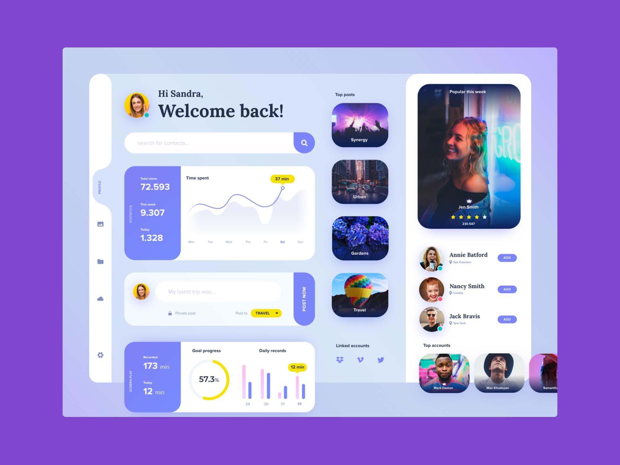 Profile Dashboard Template 2