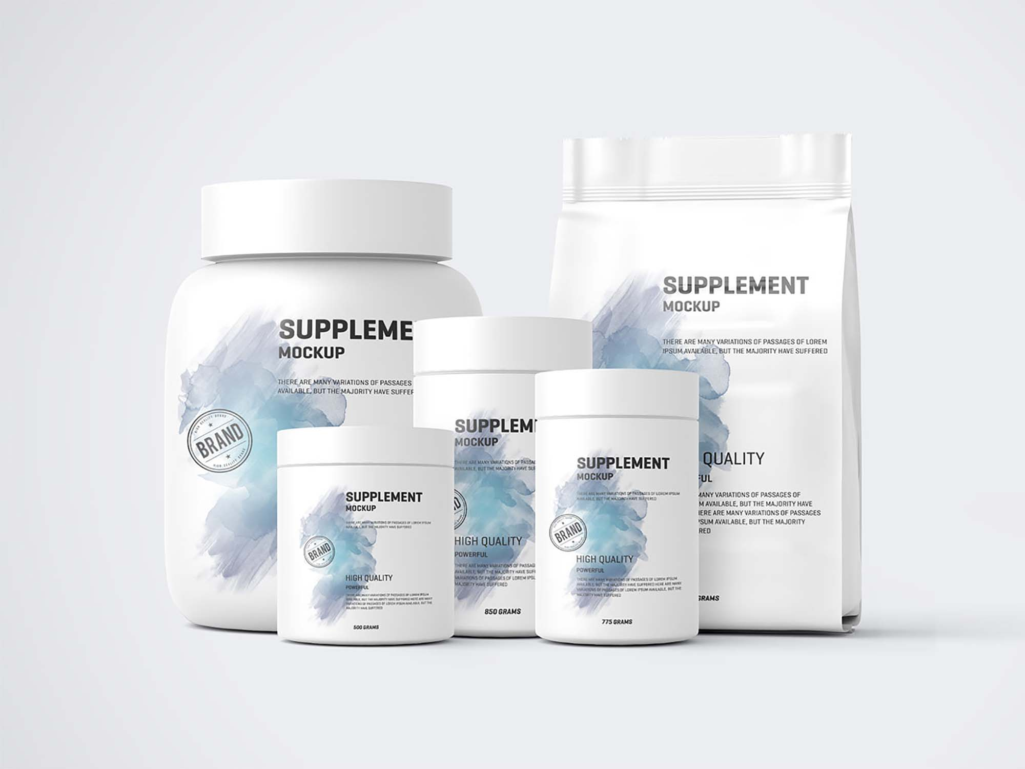 Protein Pack and Jar Supplements Mockup