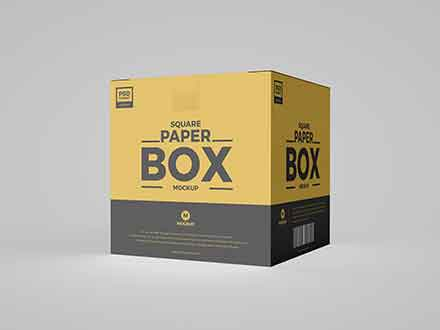 Square Paper Box Mockup