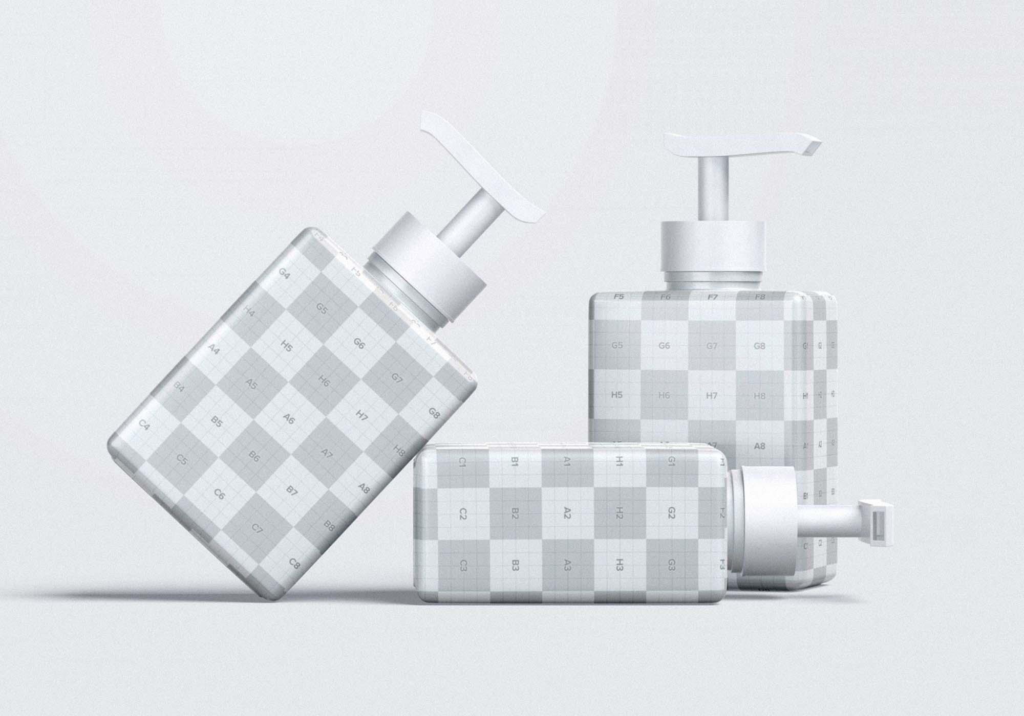 Square Pump Bottles Mockup 2